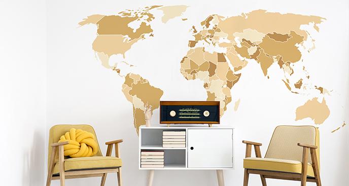Naklejka kontynenty vintage