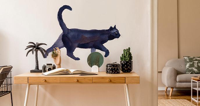 Naklejka kot w akwareli