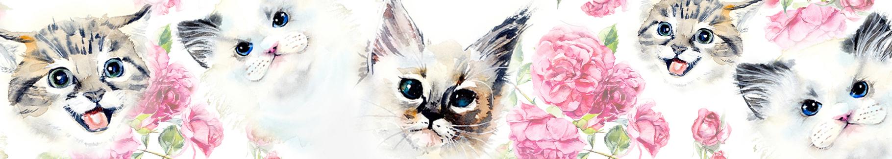 Naklejka koty i róże