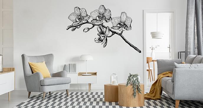 Naklejka kwiatowa w formie szkicu