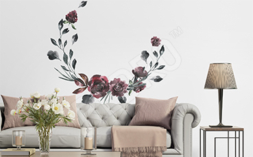 Naklejka kwiatowy wianek do salonu