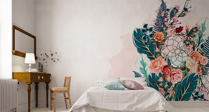 Naklejka kwiaty do sypialni boho
