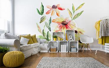 Naklejka kwiaty malowane akwarelą