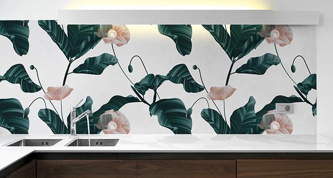 Naklejka kwiaty z zielonymi liśćmi