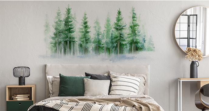 Naklejka las malowany akwarelą