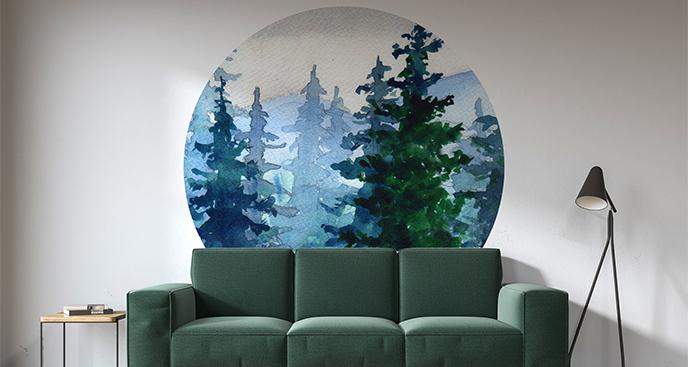 Naklejka leśny krajobraz akwarela
