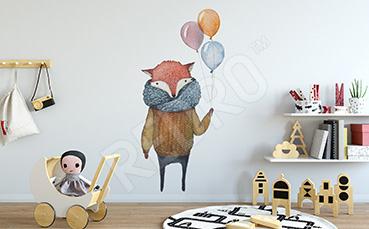Naklejka lis z balonami
