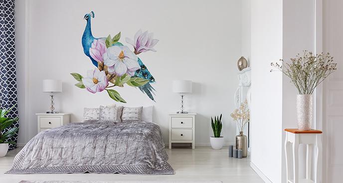 Naklejka magnolia i ptak