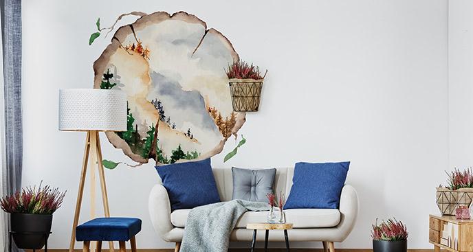 Naklejka malunek na pniu drzewa