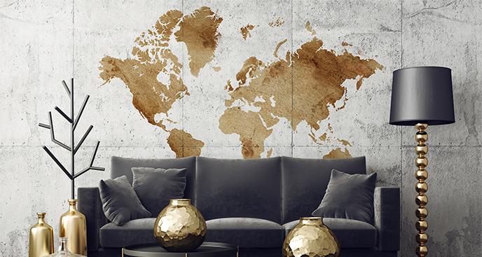 Naklejka mapa globu vintage