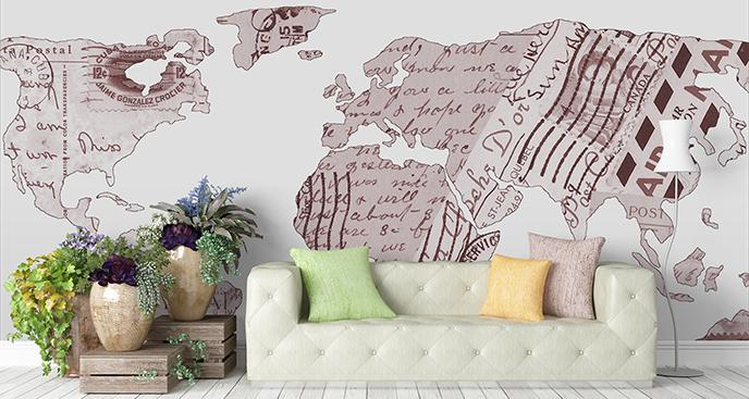 Naklejka mapa inspirowana pocztówką