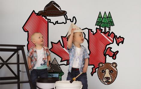 Naklejka mapa Kanady dla dzieci