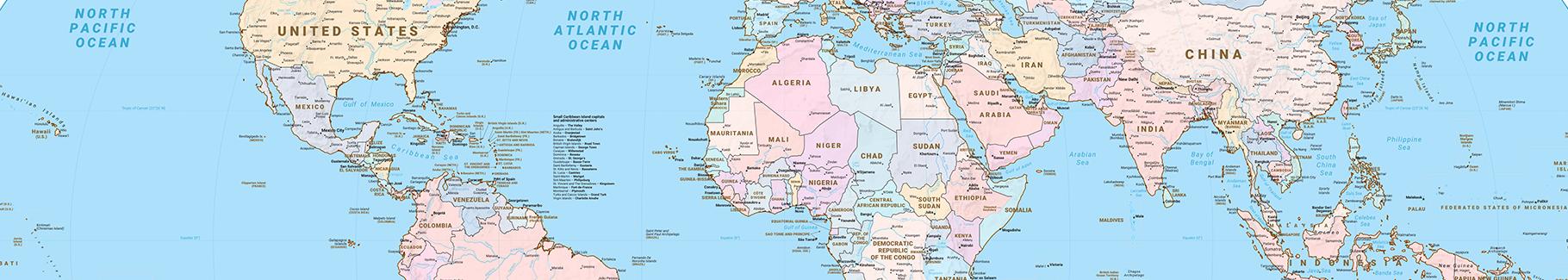Naklejka mapa polityczna świata
