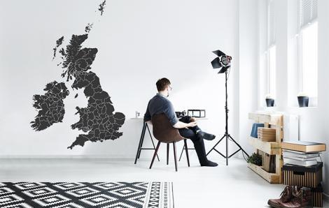 Naklejka mapa polityczna Wielkiej Brytanii