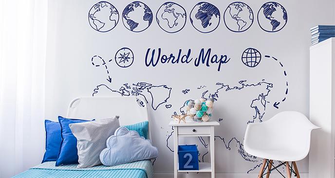 Naklejka mapa świata dla nastolatka