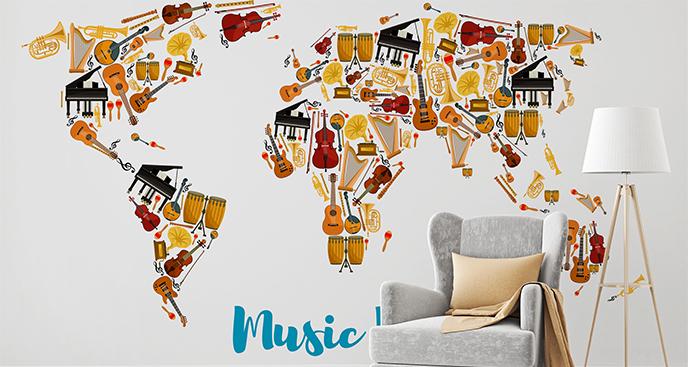 Naklejka mapa świata z instrumentami