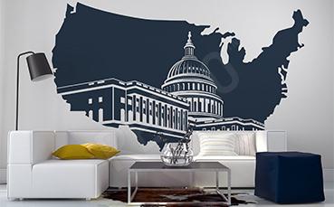Naklejka mapa USA z kapitolem