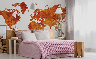Naklejka mapa w jesiennych barwach