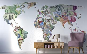 Naklejka mapa z banknotami świata