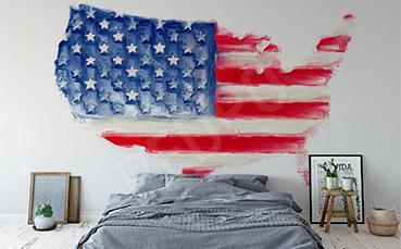 Naklejka mapą z flagą USA