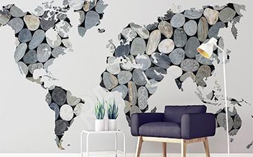 Naklejka mapa z kamieni