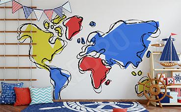 Naklejka mapa z kontynentami dla dzieci