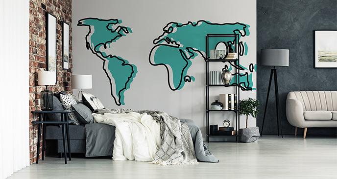 Naklejka monochromatyczna mapa