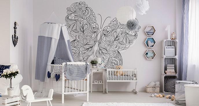 Naklejka motyl z ornamentem