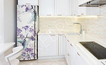 Naklejka na lodówkę fioletowe kwiaty