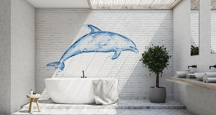 Naklejka niebieski delfin do łazienki