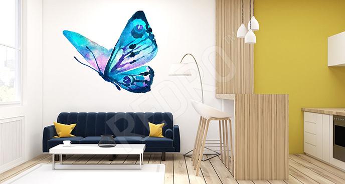 Naklejka niebieski motyl