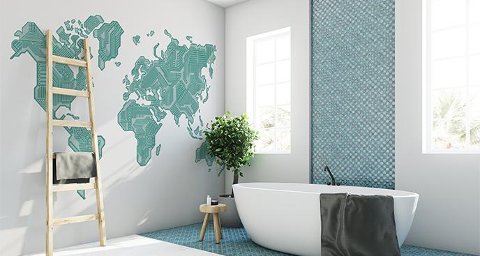 Naklejka nowoczesna mapa świata