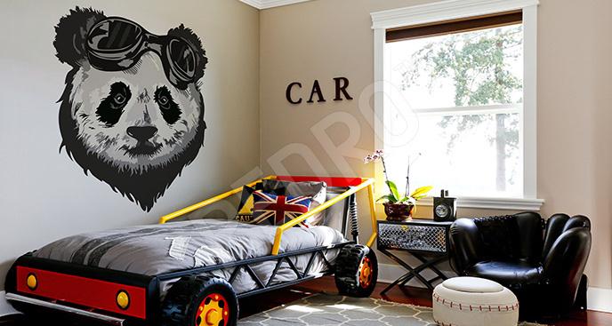 Naklejka panda hipsterska