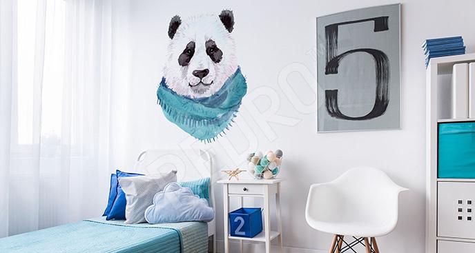 Naklejka panda w szaliku