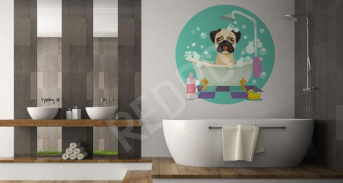 Naklejka pies do łazienki