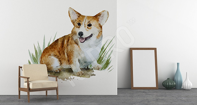 Naklejka pies malowany akwarelą