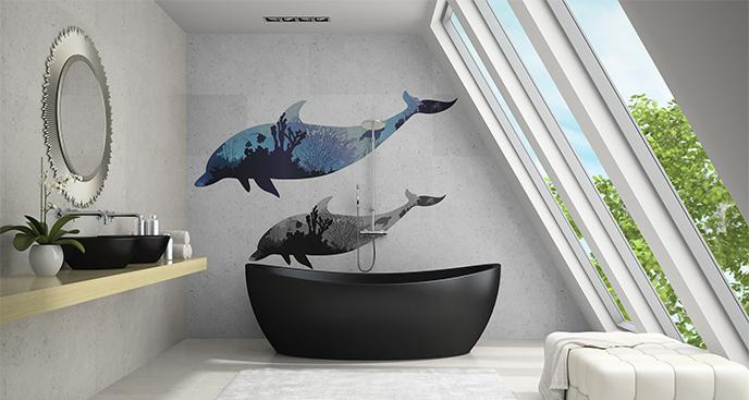 Naklejka płynące delfiny