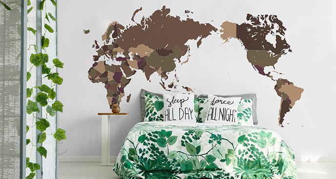Naklejka postarzana mapa do sypialni
