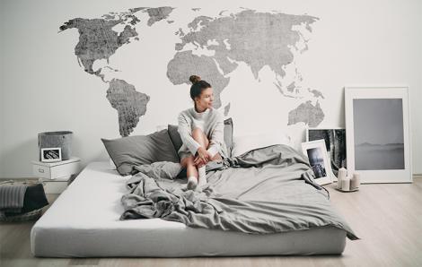 Naklejka postrzana mapa świata