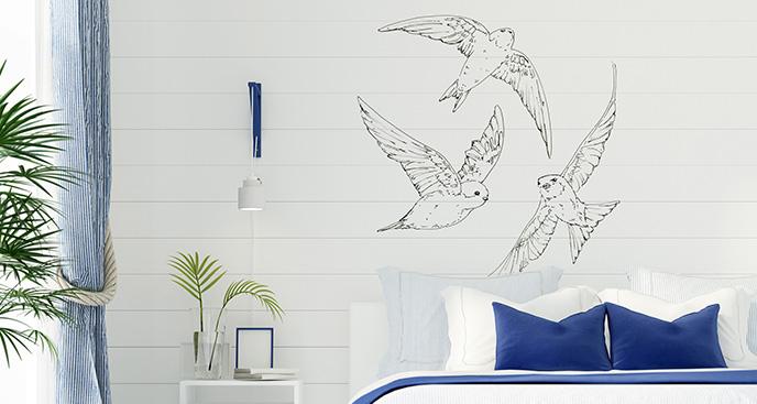Naklejka ptaki czarno-białe