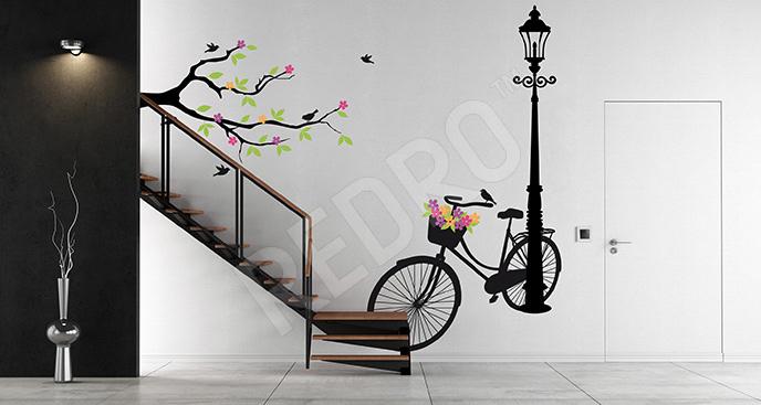 Naklejka rower i lampy uliczne