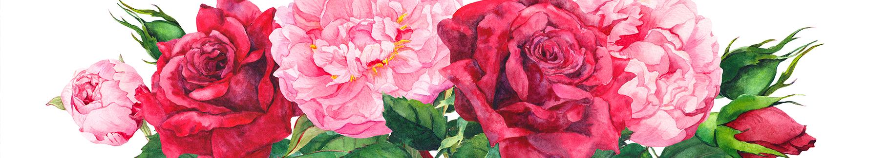 Naklejka róże i piwonie