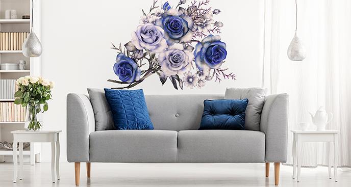 Naklejka róże niebieskie