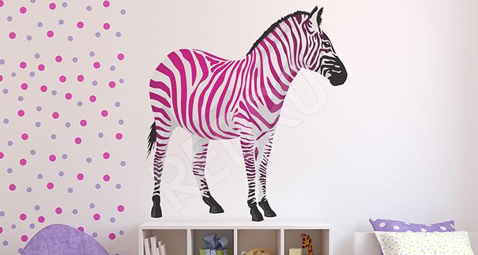 Naklejka różowa zebra
