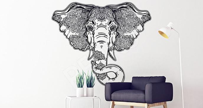 Naklejka słoń czarno-biały