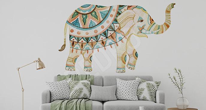 Naklejka słoń z azteckim wzorem