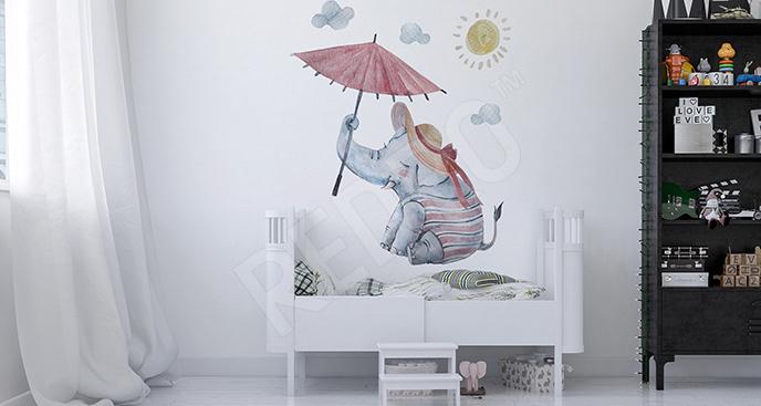 Naklejka słoń z parasolem