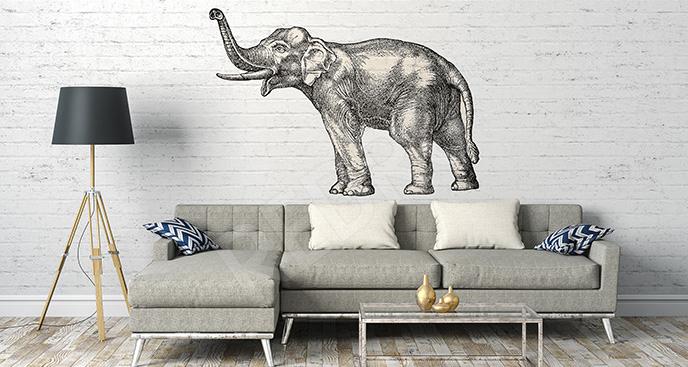 Naklejka słoń z uniesioną trąbą