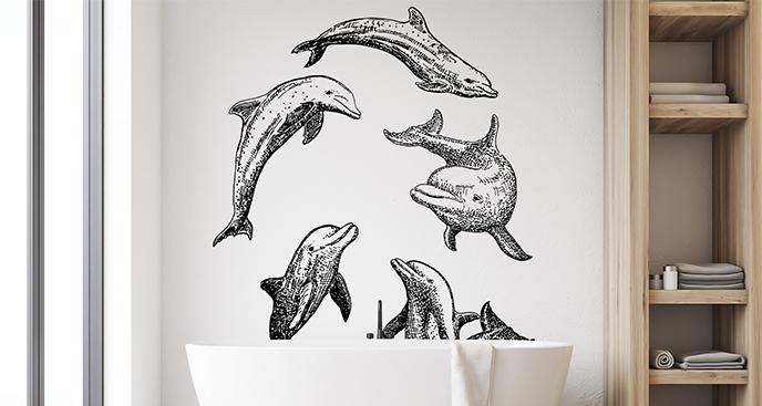 Naklejka stado morskich ssaków