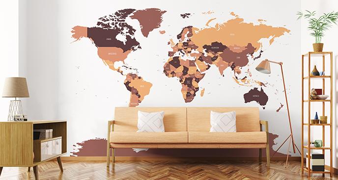 Naklejka świat w kolorach brązu